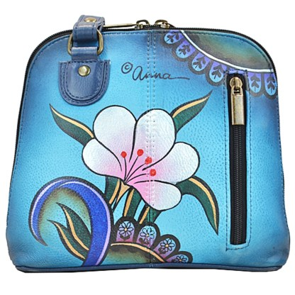Anna by Anuschka Shoulder Cross Body Bag Organiser Denim Paisley Floral