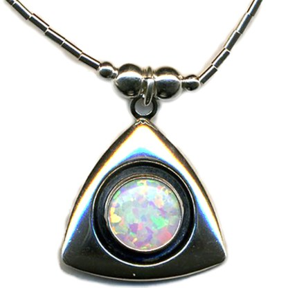 LARGE 8MM OPAL Handcrafted SS Triangle Necklace