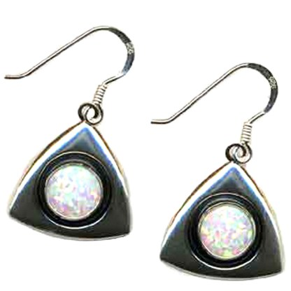 LARGE White OPAL Sterling Silver Dangle Earrings Triangle