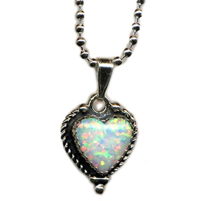 Large Fire Opal Heart Charm Silver 925 Necklace 18""