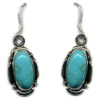 Genuine Turquoise Sterling Silver Dangle Earrings Beaded