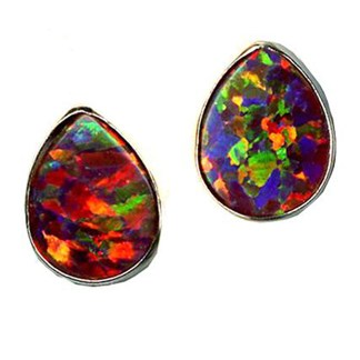 Silver 925 Red Fire OPAL Teardrop Post Earring