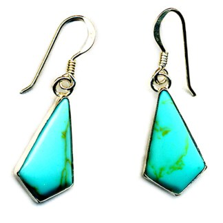 Kite Shaped Genuine Turquoise Stone Sterling Silver .925 Dangle Earrings