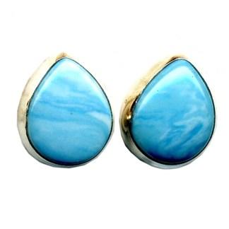 Tear Drop Shaped Larimar Light Blue Stone Sterling Silver .925 Post Earrings