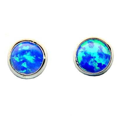 5 mm Round Shaped Dark Blue Opal Stone Sterling Silver .925 Stud Earrings