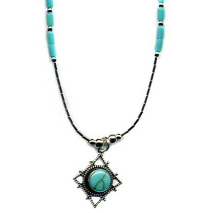 Genuine Turquoise Dimond Web Silver Filigree Necklace