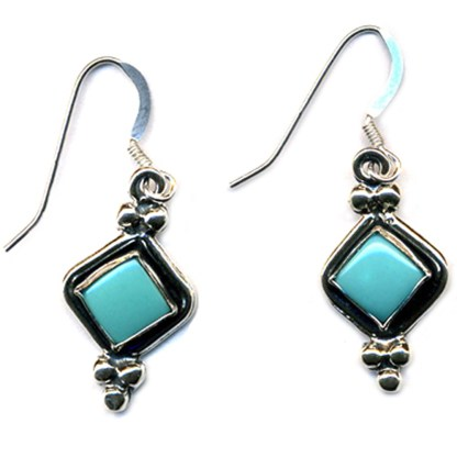Beaded Diamond Shape Earrings Genuine Turquoise Sterling Silver