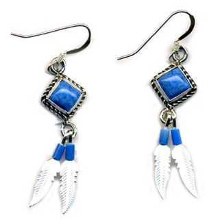 Genuine Lapis Lasuli Beaded Sterling Silver Feather Dangle Earrings