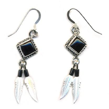 Genuine Onyx Beaded Sterling Silver Feather Dangle Earrings