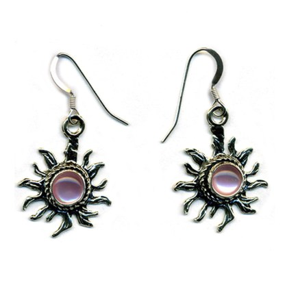 Handcrafted Sterling Silver Sun Earrings Pink Mother of Pearl