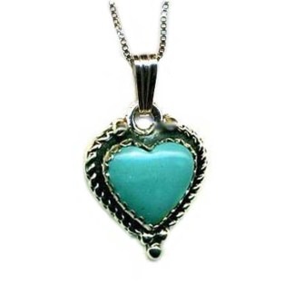 """Genuine Turquoise Blue Heart SILVER 925 Necklace 18"""""""