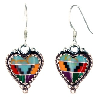 Large Genuine Heart Shape Stone  Western Sterling Silver Drop Earrings Indian Multi Inlay