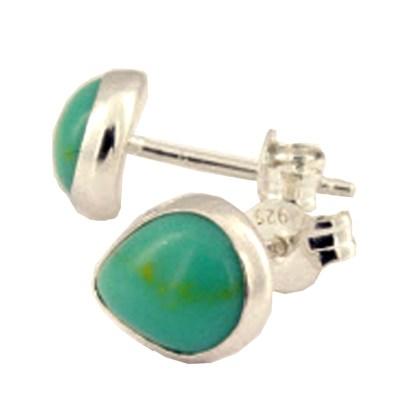 Sterling Silver Teardrop Post Earrings Genuine Cabochon Stone Turquoise