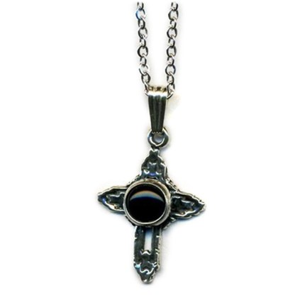 Small Cross Charm Necklace Onyx Sterling Silver
