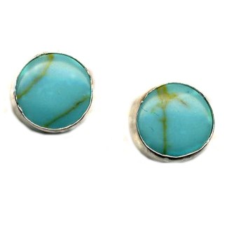 8 mm Round Post Earrings Sleeping Beauty Genuine Turquoise Sterling Silver