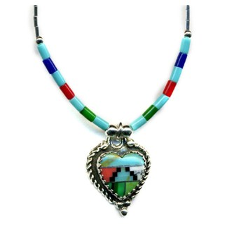 Large Navajo Multicolor Inlay Heart Sterling Silver Genuine Stone Bead Necklace