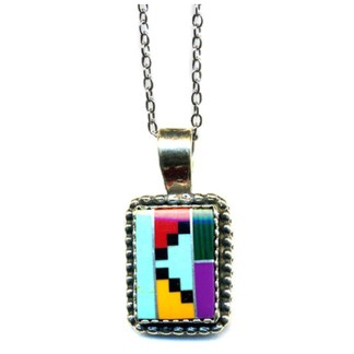 Large Navajo Multicolor Inlay Beaded Sterling Silver Silver