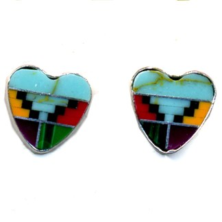 Heart Shape Navajo Multicolor Genuine Stones Inlay Sterling Silver Post Earrings