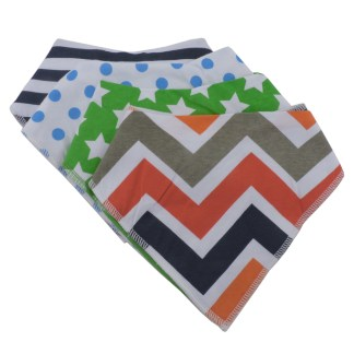 Baby Bandana Drool Bib Organic Absorbent Cotton Gift Set of 4 by Fashionista Babies Stars & Chevron