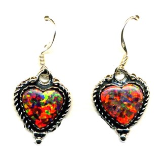 Red Fire Opal Heart Sterling Silver Earrings