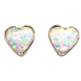 Heart & Love White Sparkly Fire Opal  Stone Sterling Silver Post Earrings 6 MM