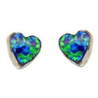Heart Love Intense Green Sparkly Fire Opal Stone Silver 925 Post Earrings 6 MM