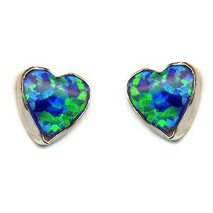 Heart Love Intense Green Sparkly Fire Opal Stone Silver 925 Post Earrings 6 MM