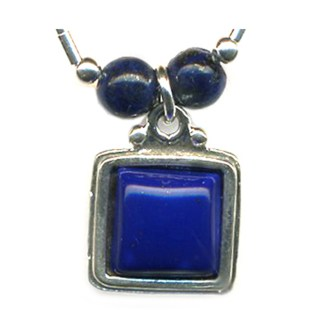 Liquid Sterling Silver Square Beaded Necklace Genuine Lapis Lasuli Handmade 18""