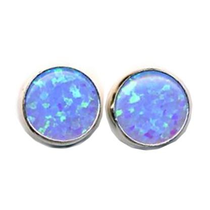 OPAL BLUE Earrings 8mm Round S SILVER 925