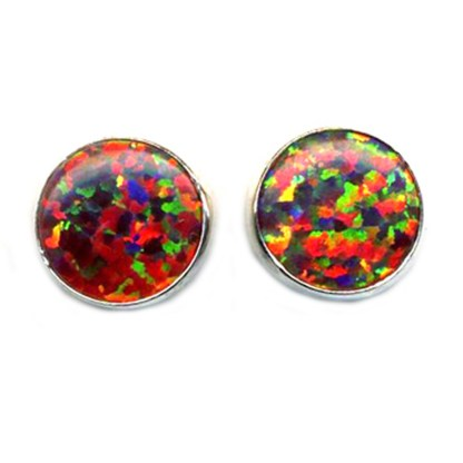 Red Fire Opal Sterling Round 8mm Post Earrings