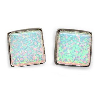 SQUARE Post Earrings Sterling Silver 925 White OPAL