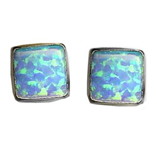 SQUARE Post Earrings Sterling Silver 925 Blue OPAL