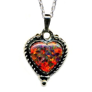 """Red Fire Opal Heart SILVER 925 Necklace 18"""""""