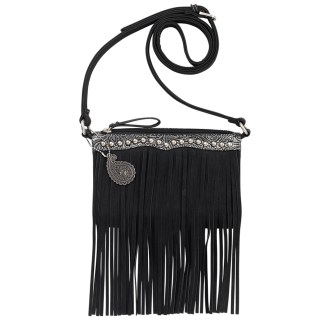 American West Bandana  Crossbody Fringe Organizer Bag   Black  Sun Valley