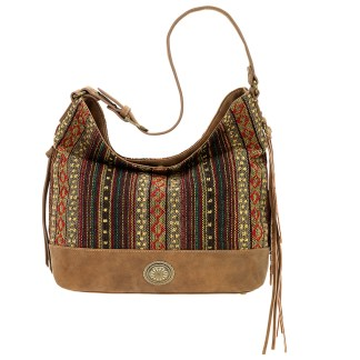 American West Bandana Slouch Hobo Handbag   Brown  Serape