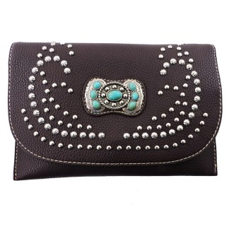 American Bling Clutch Crossbody Shoulder Handbag Built in Wallet Coffee Concho