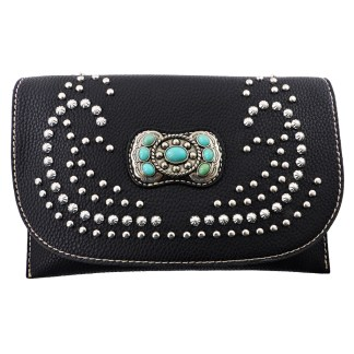American Bling Clutch Crossbody Shoulder Handbag Built in Wallet Black Concho