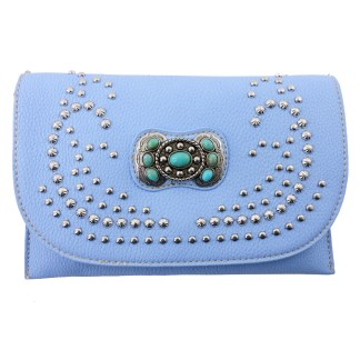 American Bling Clutch Crossbody Shoulder Handbag Built in Wallet Periwinkle