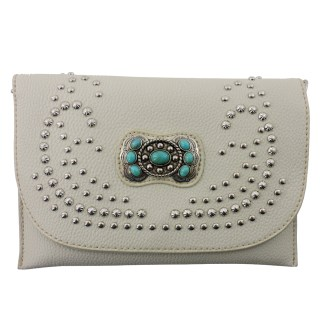 American Bling Clutch Crossbody Shoulder Handbag Built in Wallet Beige