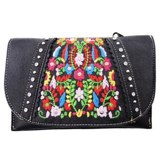 American Bling Clutch Crossbody Shoulder Handbag Built in Wallet Black Floral