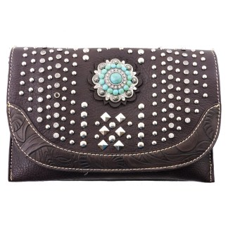 American Bling Clutch Crossbody Shoulder Handbag Built in Wallet Coffee Stdded