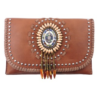 American Bling Clutch Crossbody Shoulder Handbag Built in Wallet Brown Dreamcatcher