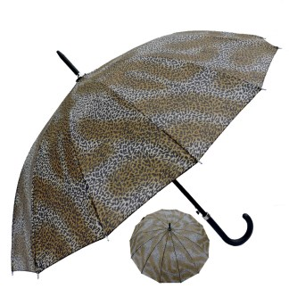 "Rain or  Sun UV Protection Umbrella Silver Fever ® 42 "" Canopy Coverage Windproof Cheetah  Print"