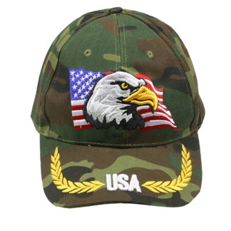 Silver Fever® Classic Baseball Hat 100% Adjustable Unisex Trucker Cap - Made to Last  Camouflage w Eagle and USA Flag