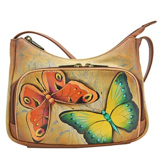 Anuschka Genuine Leather Handpainted Crossbody Travel Organizer Earth Strong
