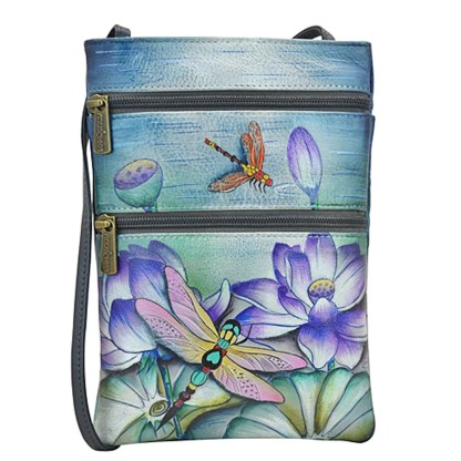 Anuschka Leather Small Travel Companion Bag Handpainted Tranquil Pond