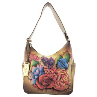 Anuschka Classic Genuine Leather Handpainted Hobo Side Pockets Lush Lilac- Bronze