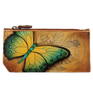 Anuschka RFID Credit Card Coin Wallet Genuine Handpainted Leather Earth Song