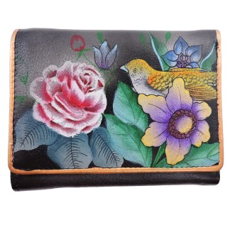 Anuschka RFID Small French Wallet Genuine Handpainted Leather Vintage Bouquet