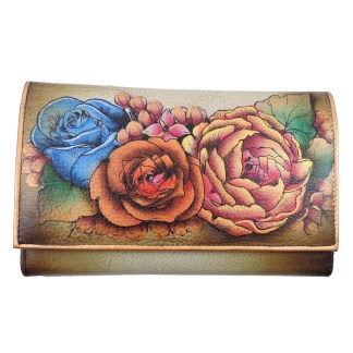 Anuschka Checkbook Wallet Hand Painted Anuschka Genuine Leather Credit Card Holder Hand Painted Lush Lilac- Bronze